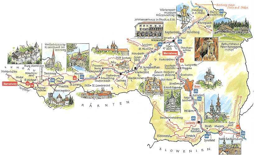 Austria Cartina Turistica.Pista Ciclabile Lungo Il Fiume Mur In Austria