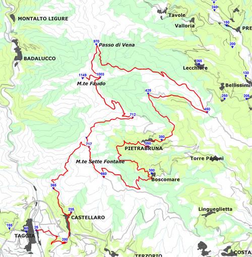 Liguria planimetria anello faudo