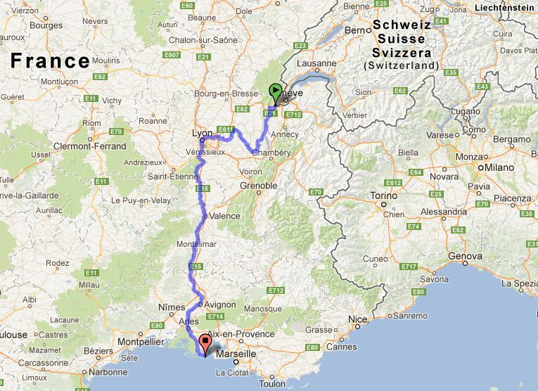 pista ciclabile fiume Rodano-mappa-rodano-francia