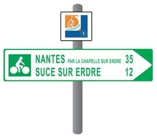 Un tipico segnavia per percorsi cicloturistici in Francia