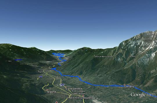 Un'immagine in 3D della pista ciclabile della val Camonica