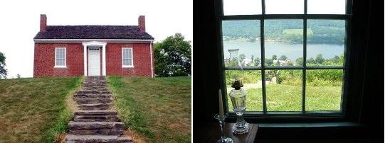 La casa di John Rankin e la candela davanti la finestra, sullo sfondo il fiume Ohio.