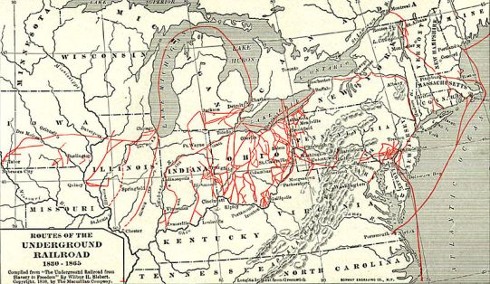 Una vecchia mappa con alcuni itinerari della Underground Railroad