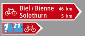 Cartelli segnalatori di percorsi cicloturistici in Svizzera
