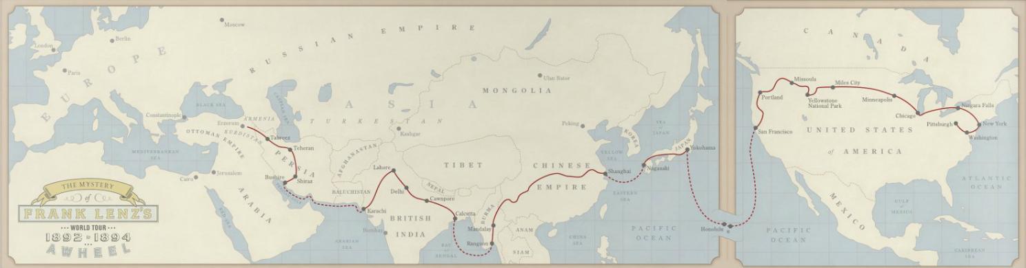 La mappa del viaggio di Frank Lenz (cliccare per ingrandire)