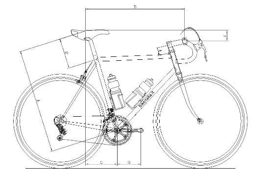 Calcolare le misure della bici sella manubrio pedivelle for Una planimetria della cabina del telaio