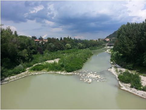 Il fiume Reno in zona Casalecchio (Bo)
