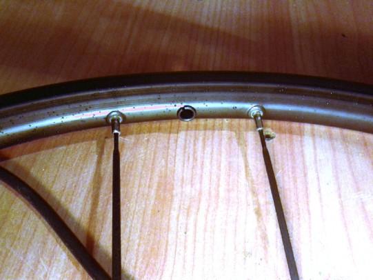 Un cerchio per camera d'aria con foro per valvole Presta