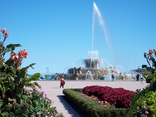 Buckingham Fountain di Grant Park, Chicago, partenza della Bicycle Route 66