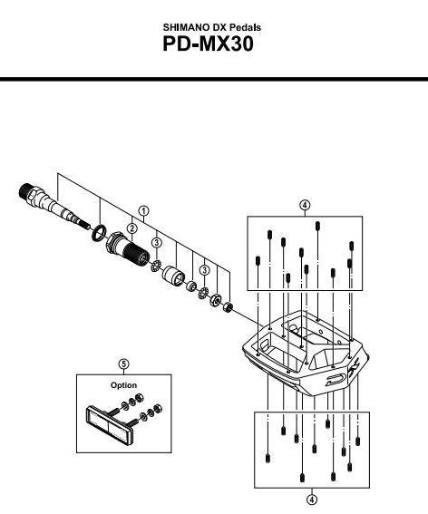 Anatomia di un pedale Flat. Shimano courtesy