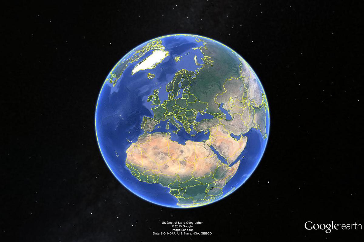 Google Earth schermata iniziale
