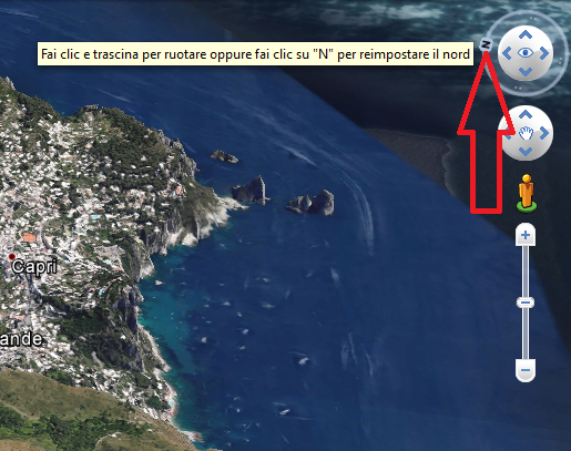 reimpostare il nord Google Earth