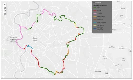Il percorso del GRAB, il Grande Raccordo Anulare delle Bici a Roma