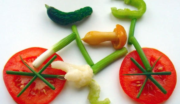 bici fatta con vegetali