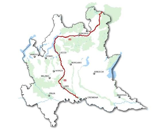 Il tracciato dell'itinerario cicloturistico dell'Adda