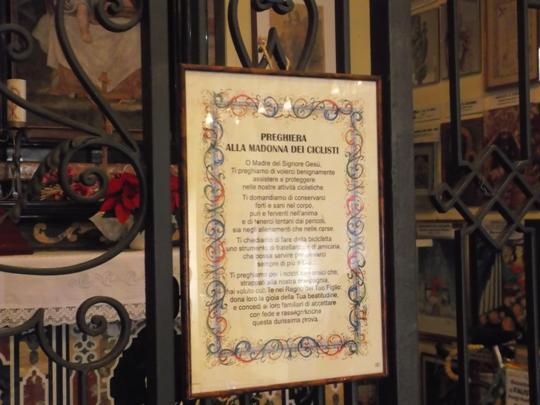 La preghiera del ciclista alla Madonna del Ghisallo