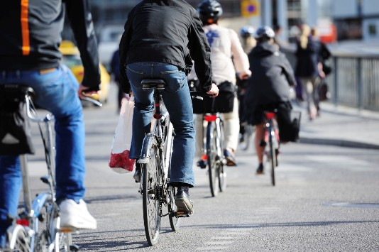 Bikes in traffic