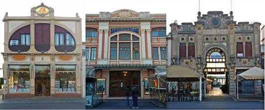 Carrellata di architettura novecentesca sul lungomare di Viareggio