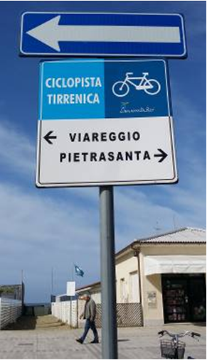 Cartello che indica la ciclopista Tirrenica