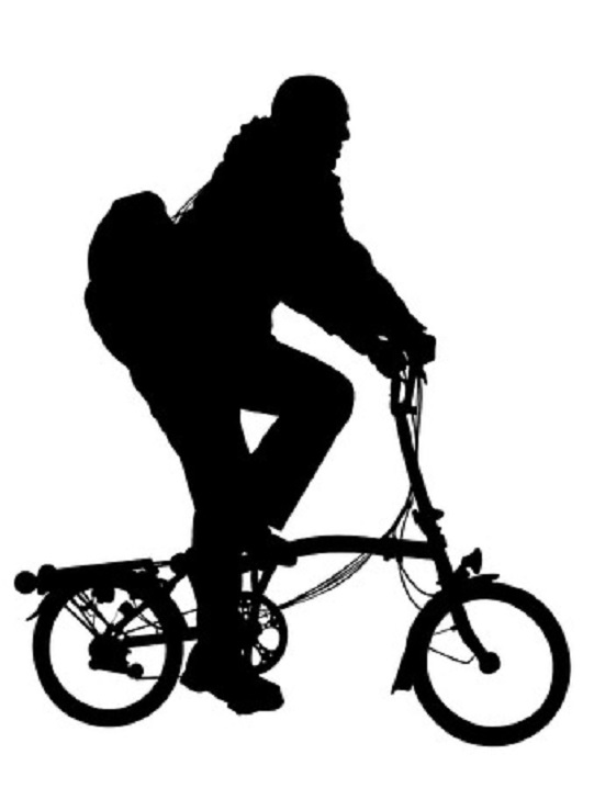 2894563 - man riding modern foldable bicycle silhouette