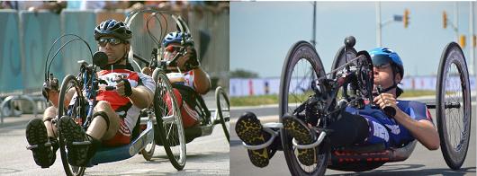 Una handbike ad Atene 2004 (sinistra) e a Rio 2016 (destra)