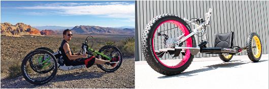 """Un modello di handbike offroad e una """"hand-fat-bike"""""""