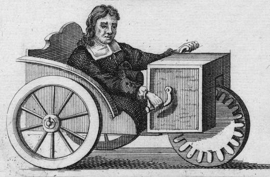 Il disegno del primo modello di handbike della storia. (1655, Stephen Farfler, Norimberga, Germania)