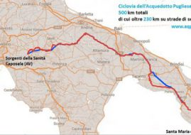 cartina Ciclovia dell'Acquedotto Pugliese