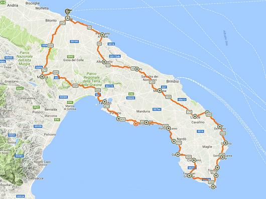 Cartina Itinerari Puglia.Puglia Il Giro Del Tacco Bikeitalia It