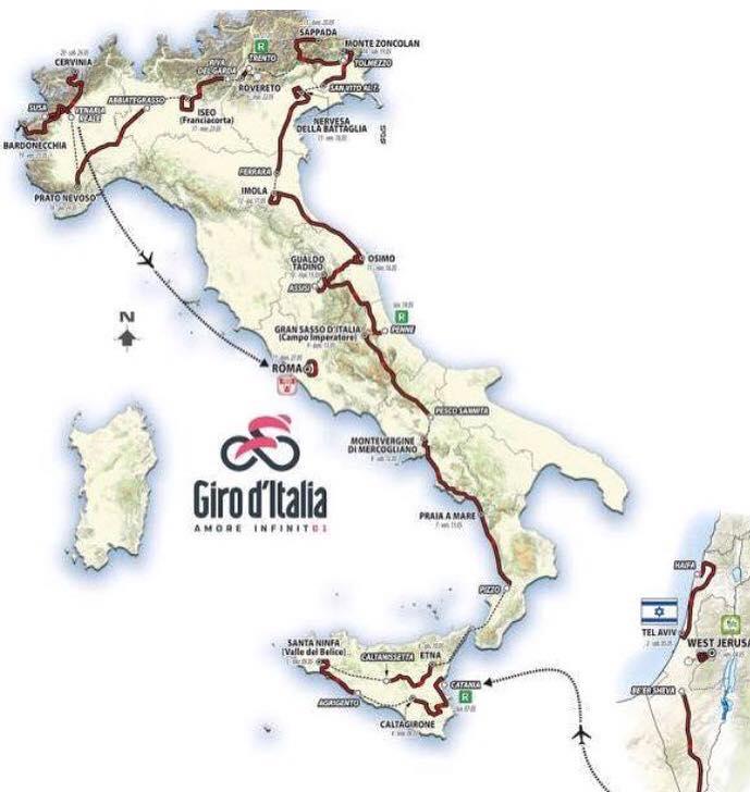 percorso giro d'italia