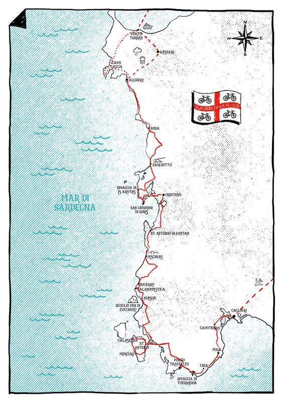 Cartina Sardegna Centro Ovest.La Costa Occidentale Della Sardegna In Bici Il Diario Di Viaggio Di Francesco Bikeitalia It