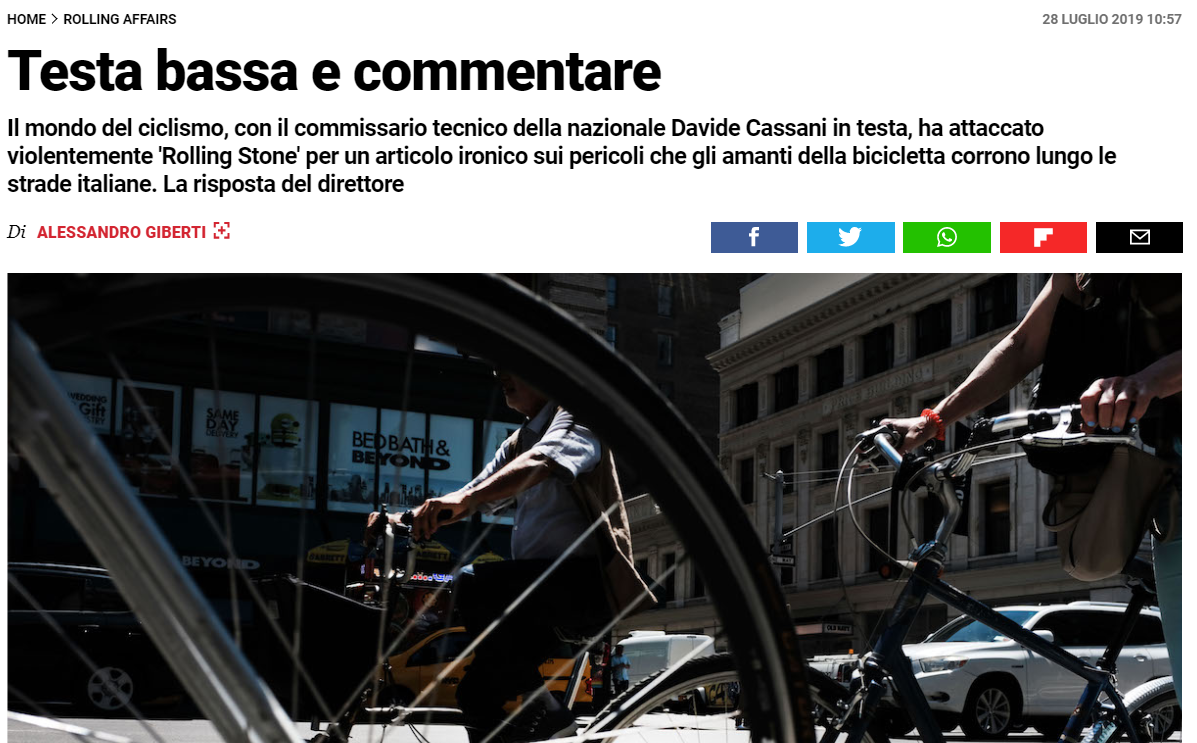 Rolling Stone Ciclisti