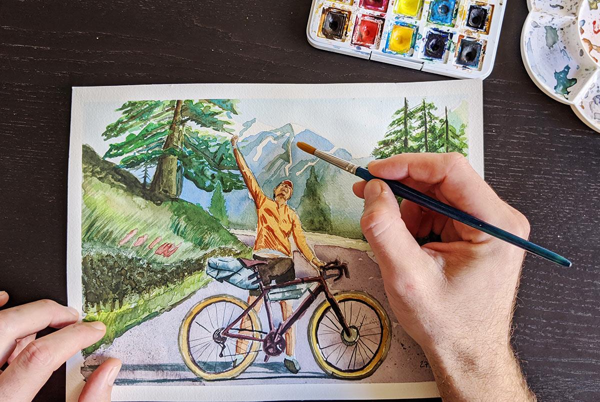 Acquerello bicicletta