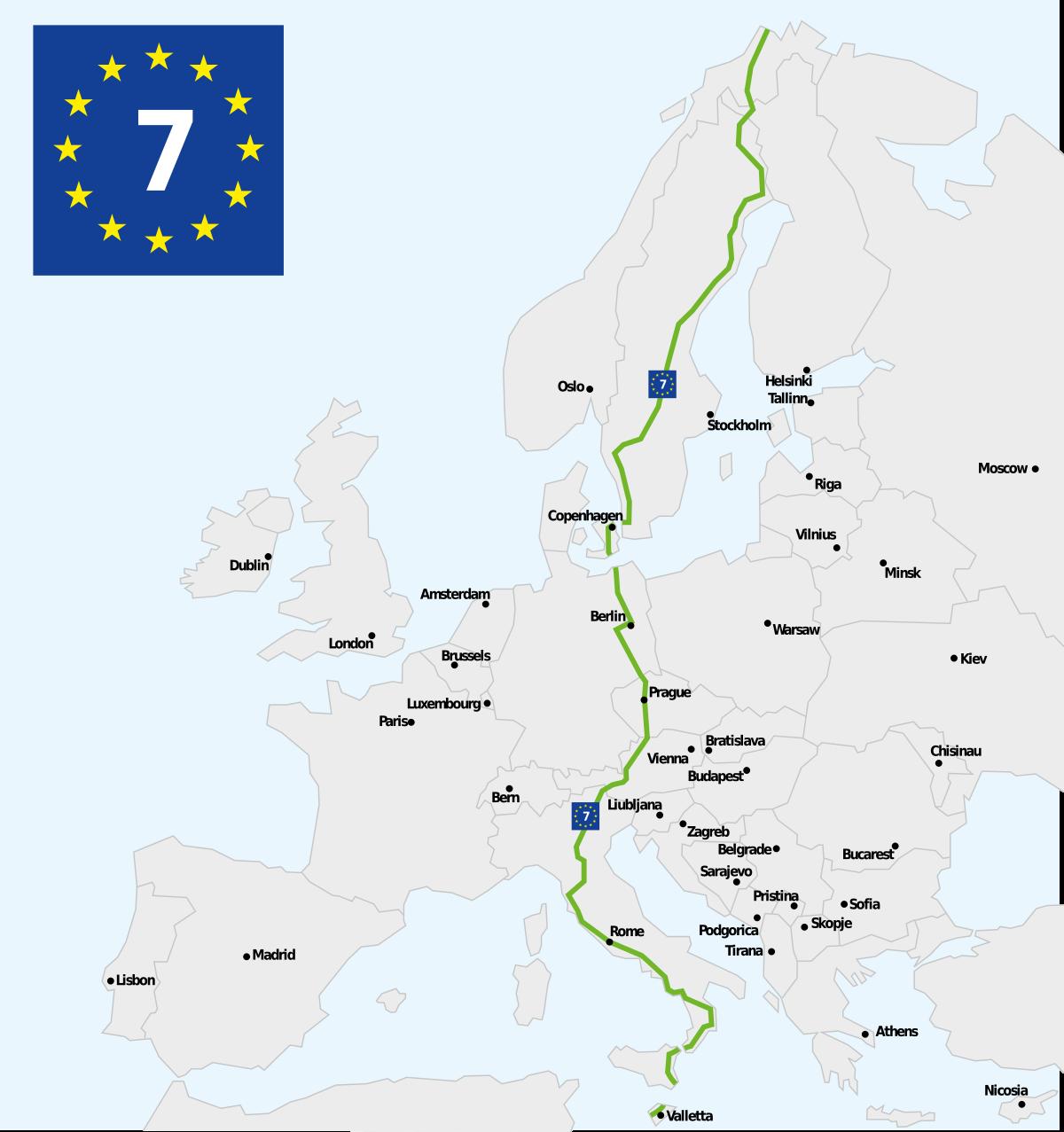 eurovelo 7 mappa