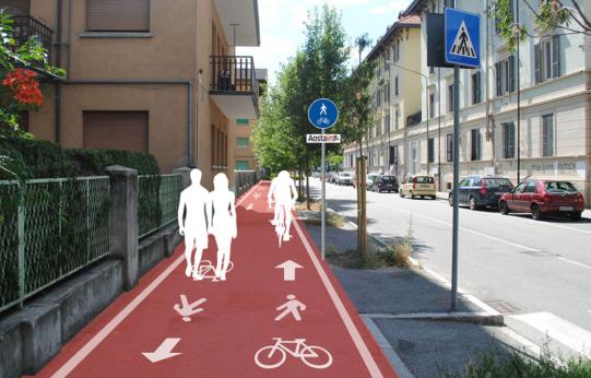Aosta - Progetto di ciclopedonale sul marciapiede