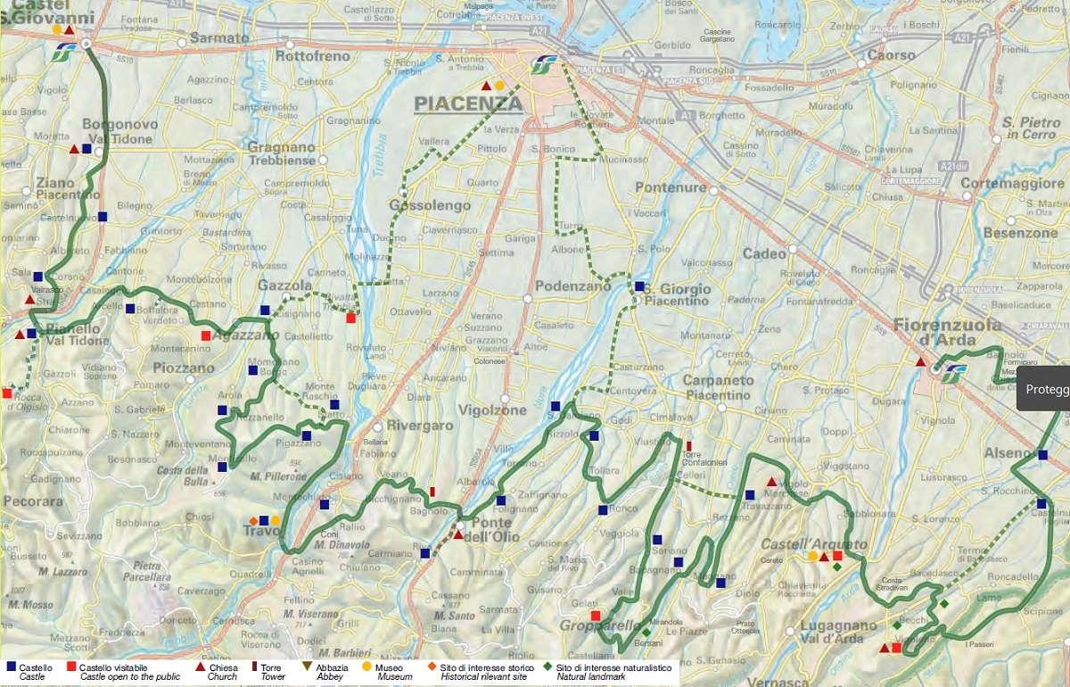 Itinerario Castelli di Collina (Credits: Provincia di Piacenza e Amolabici)