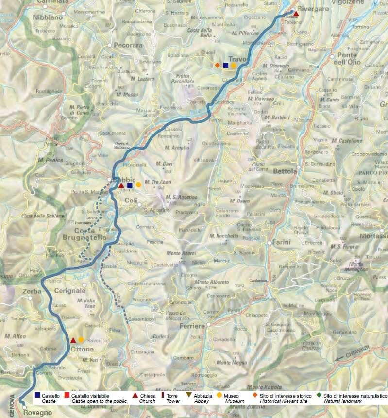 Itinerario della Val Trebbia(Credits: Provincia di Piacenza e Amolabici)