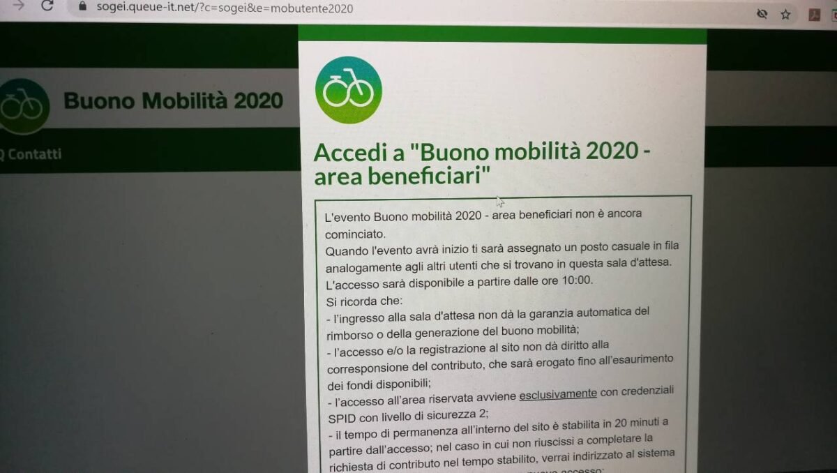 """Messaggio schermata di """"coda virtuale"""" per poter accedere al portale www.buonomobilita.it"""