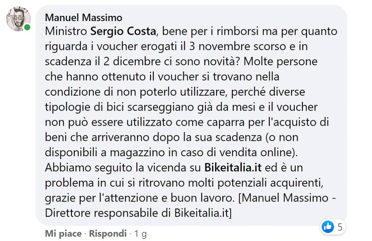 Commento Manuel Massimo post Facebook voucher buono mobilit Sergio Costa