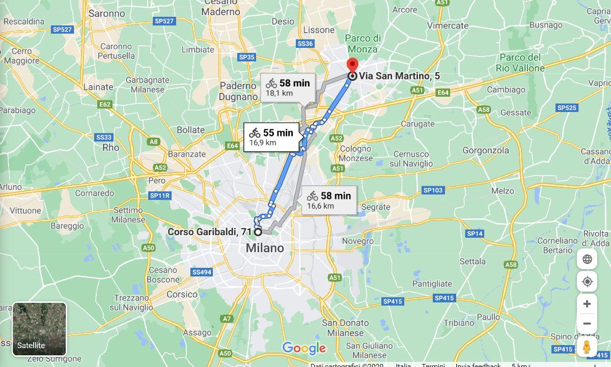 Google Maps percorso bici Milano Monza Bikeitalia Bikenomist