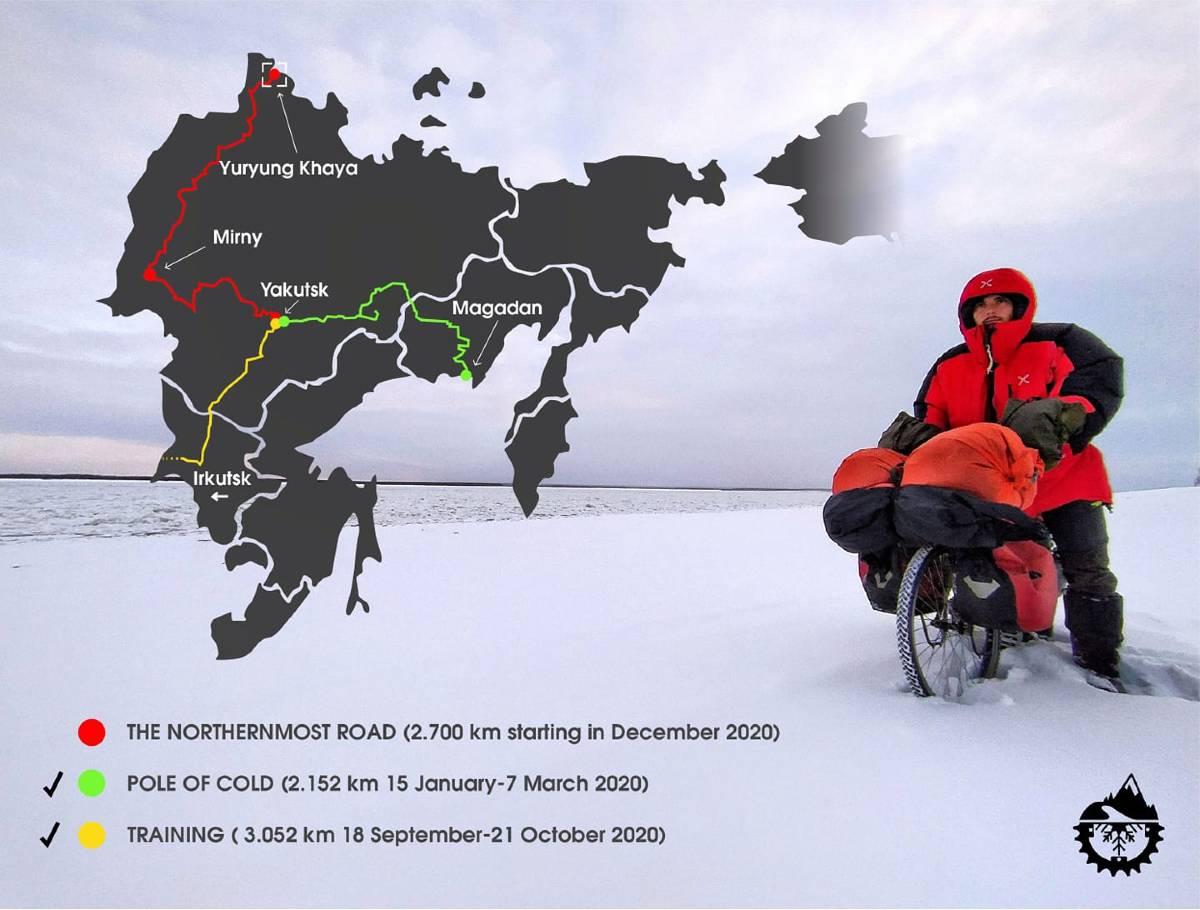 Lorenzo Barone pedala al freddo della Siberia