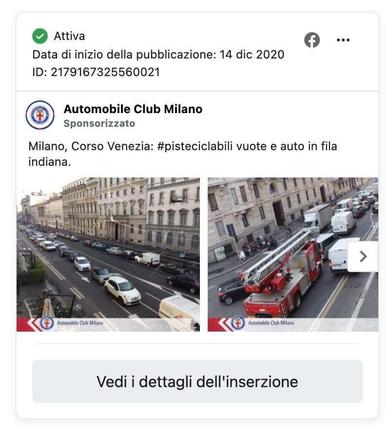 Inserzione Facebook dell'Automobile Club d'Italia Milano contro le piste ciclabili