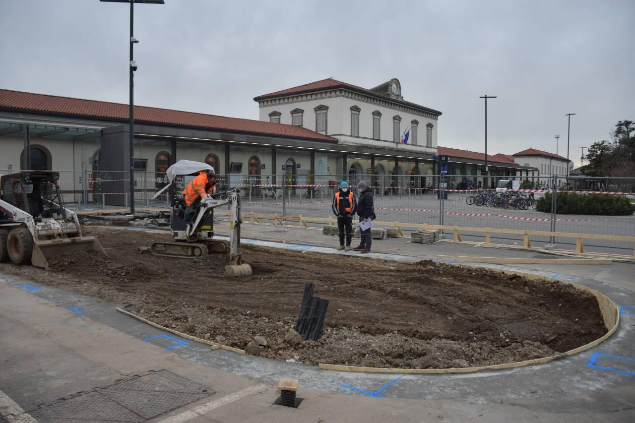 Lavori per la velostazione di Bergamo