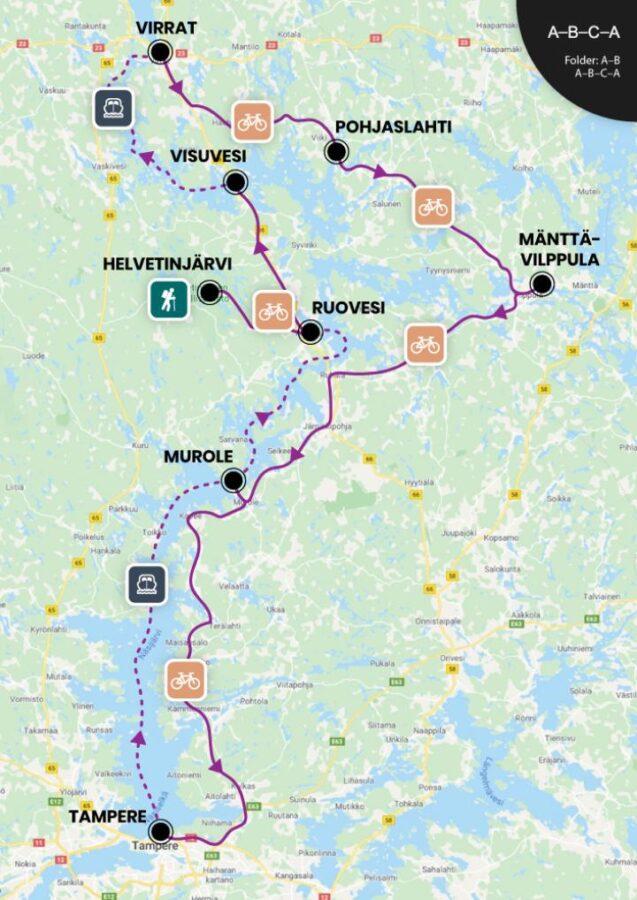 Tampere in bicicletta Finlandia mappa