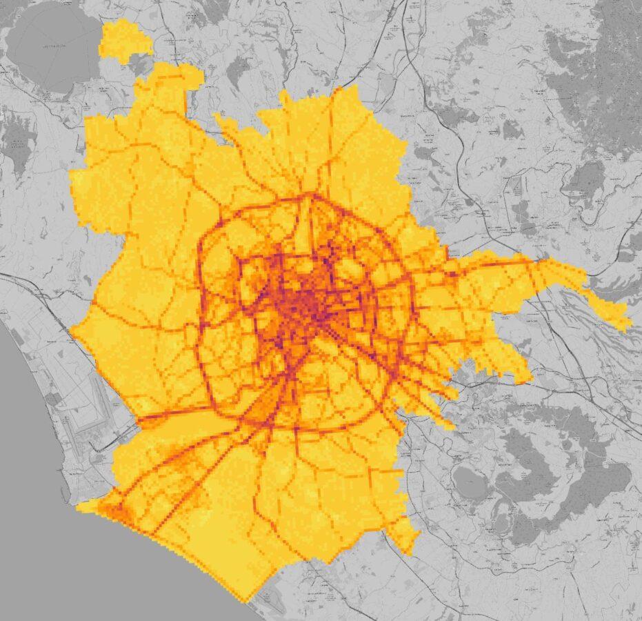 Mappa Roma concentrazione inquinanti aria