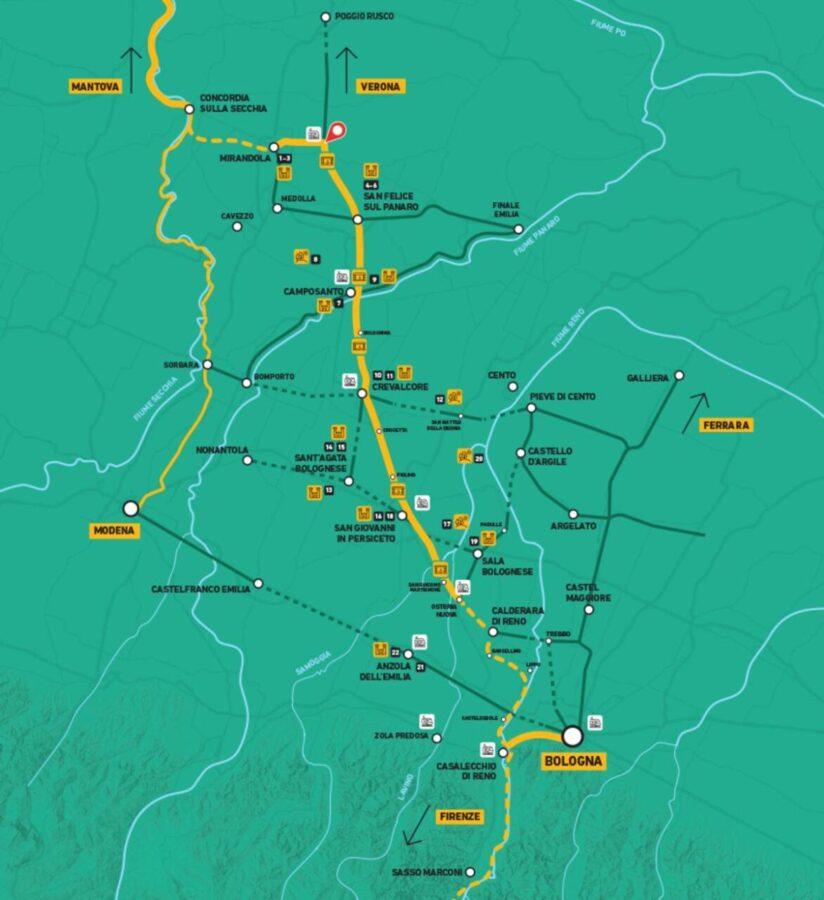 Mappa Ciclovia del Sole Mirandola Bologna