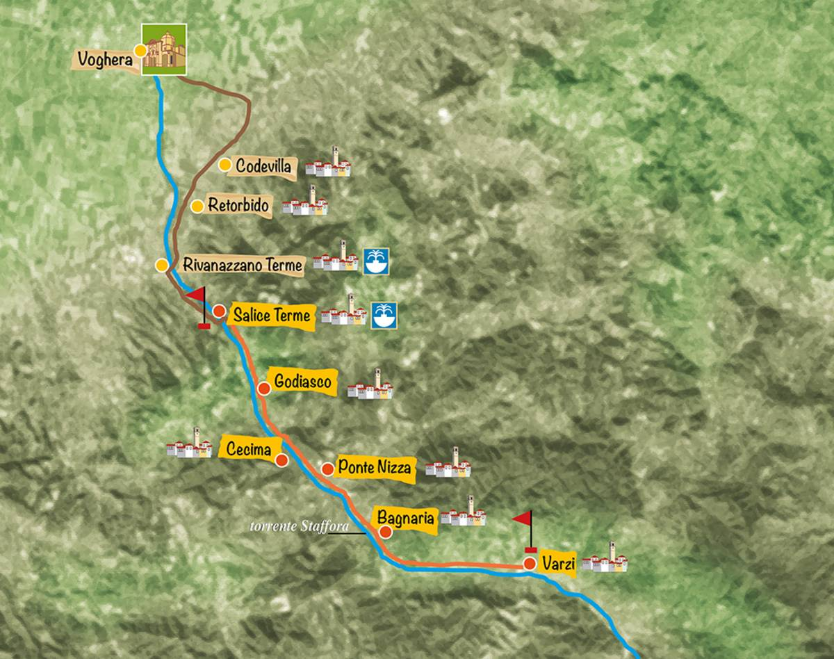 Mappa Greenway Voghera - Varzi Oltrepo' Pavese, Pavia ciclotursimo
