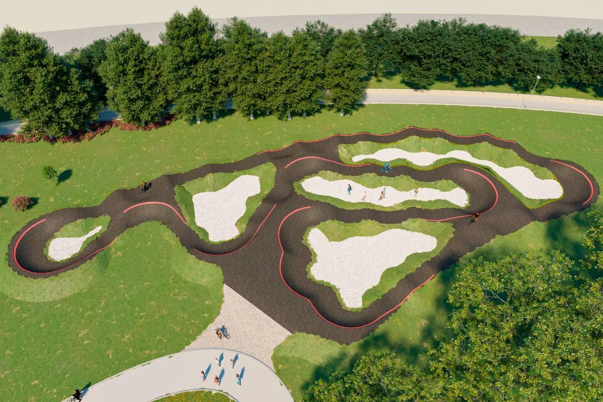 Pump track pro villaggio bicicletta