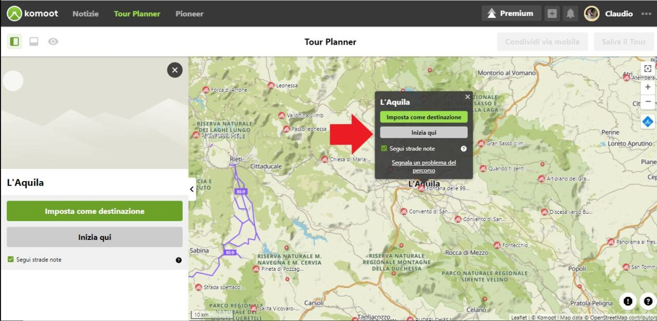 imposta destinazione Komoot itinerario in bici