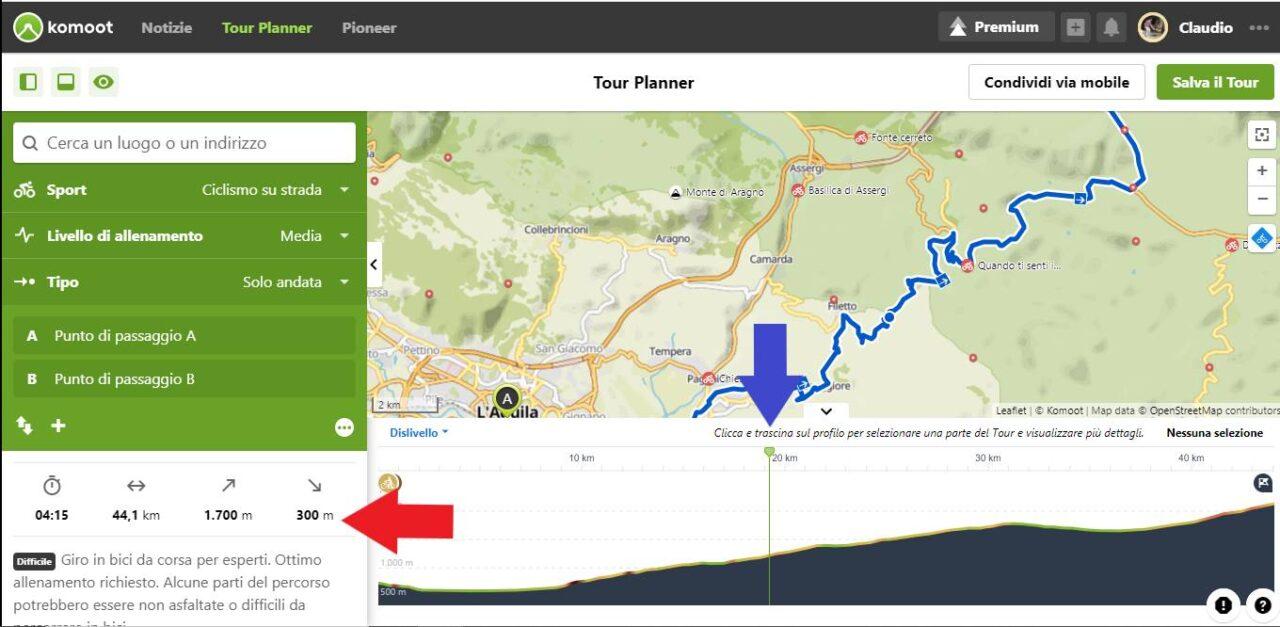 Dati altimetria gps percorso itinerario bici
